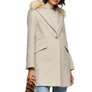 NWT Topshop Faux Fur Trim Coat